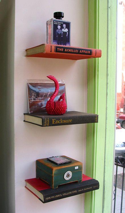 Book shelves handmade from recycled books
