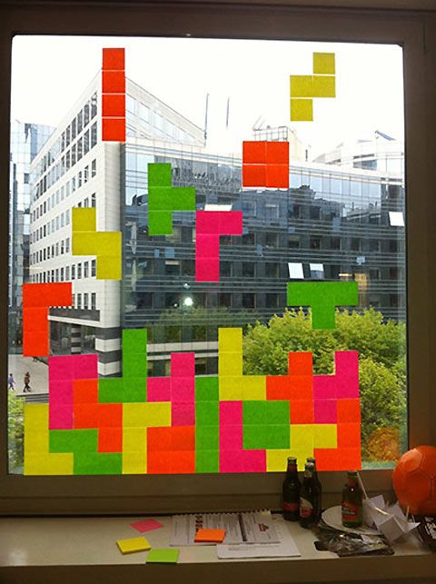 Tetris with post-it notes...if I were still working I would totally have post-it noted my huge window.