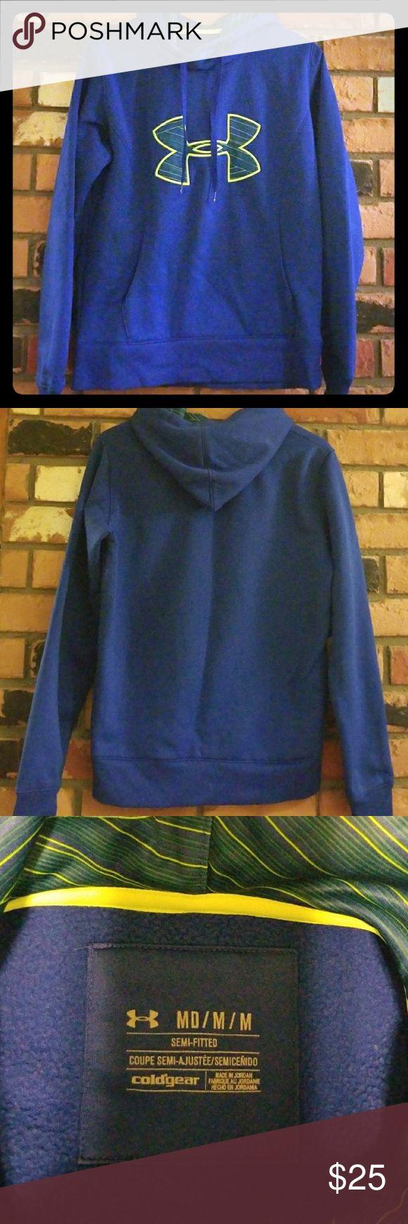 Under Armour blue/neon yellow hoodie Bright blue Under Armour hoodie with neon yellow details Under Armour Tops Sweatshirts & Hoodies