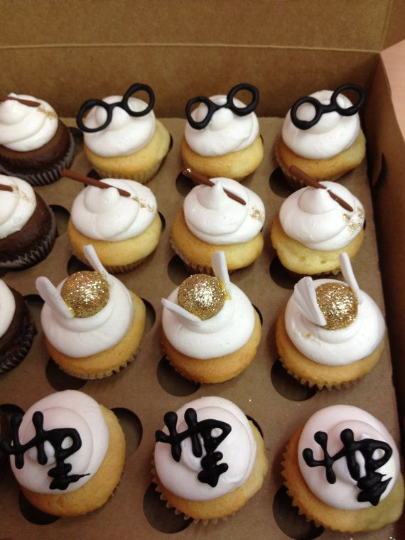 Harry Potter mini Cupcake Toppers by SugarBabiesCupcakery on Etsy, $24.00