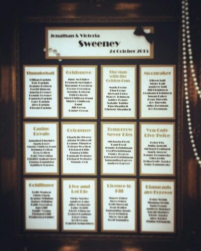 Seating chart, Gatsby, Old Hollywood, James Bond wedding.
