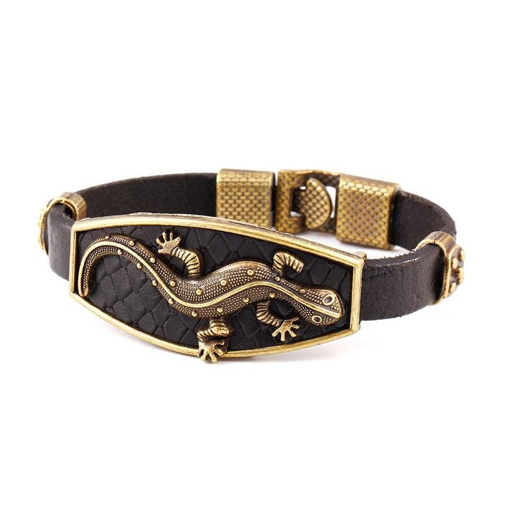 classic lizard leather charm bracelet & bangle for men