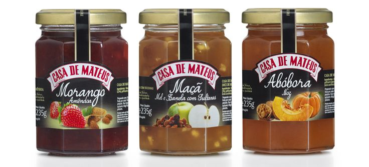 Gama doces Casa de Mateus com frutos secos #packaging #design #food #jam #nuts #strawberry #apple #pumpkin