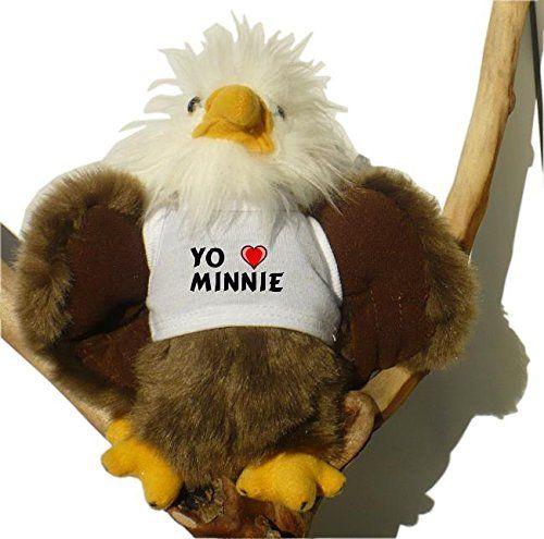 Águila calva de peluche con Amo Minnie en la camiseta (nombre de pila/apellido/apodo) #camiseta #friki #moda #regalo