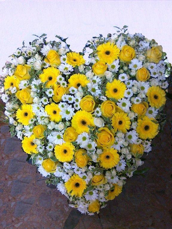 """Smútočný veniec """" 8709 """"  Krásny miešaný živý smútočný veniec v tvare srdca .. zloženie - gerbera, chryzantémy, karafiáty a ruže - podla sezóny aj iné druhy kvetov. základná veľkosť 60 cm ... Veľkosť voliteľná až do 100 cm Farba tiež voliteľná  #smútočný #veniec #wreath #funeral #hearth #srdce #yellow #white #biele #žlté #chryzantémy #ruže #roses #karafiáty"""