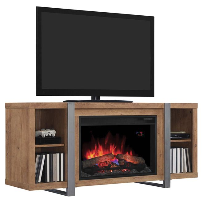 "Oak Media Mantel with Electric 26"" Fireplace"