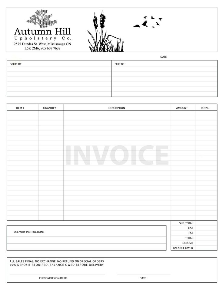 Autumn Hill Sales Invoicejpg (1236×1600) Design Invoices - sales invoice