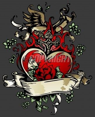Heart and Rose Tattoos | Classic Rose Heart With Wing Tattoo