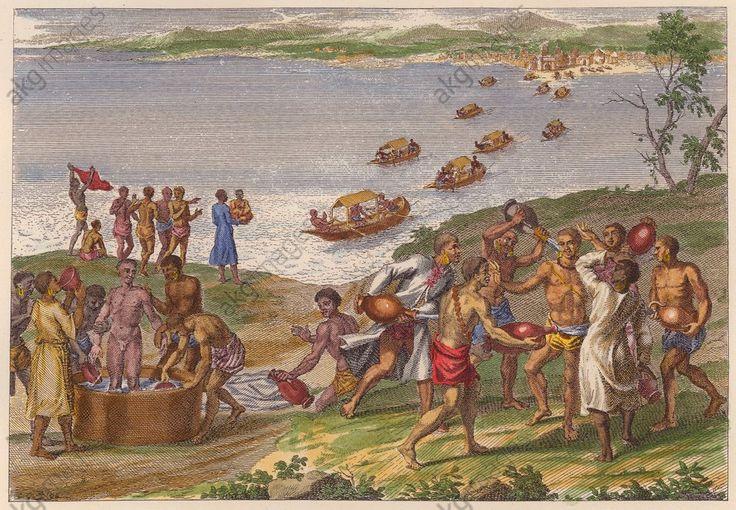 Water Festival of the Jugs Ethnologie : Haïti. Fête rituelle avec cruches d'eau. Grav. sur cuivre, illustration d'un récit de voyage, début 18e (coloriée ultérieurement).