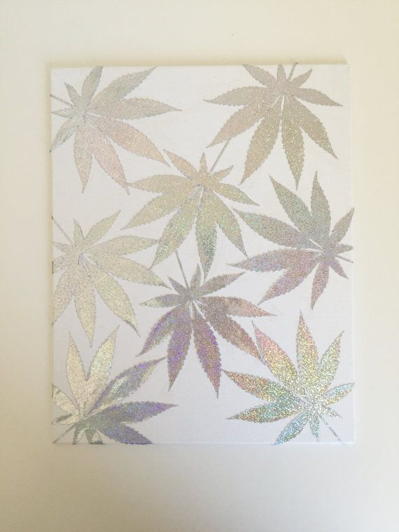 Iridescent Leaf Cannabis Art  Marijuana Art  by StrawberryCoughs