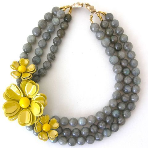Grey pearl necklace with yellow flower