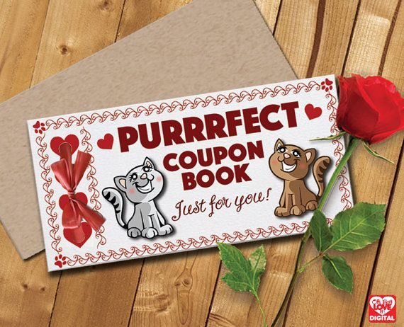 Printable Love Coupon Book and Envelope, Cat Theme (Unisex) Instant Digital Download (only) PDF 5 page document