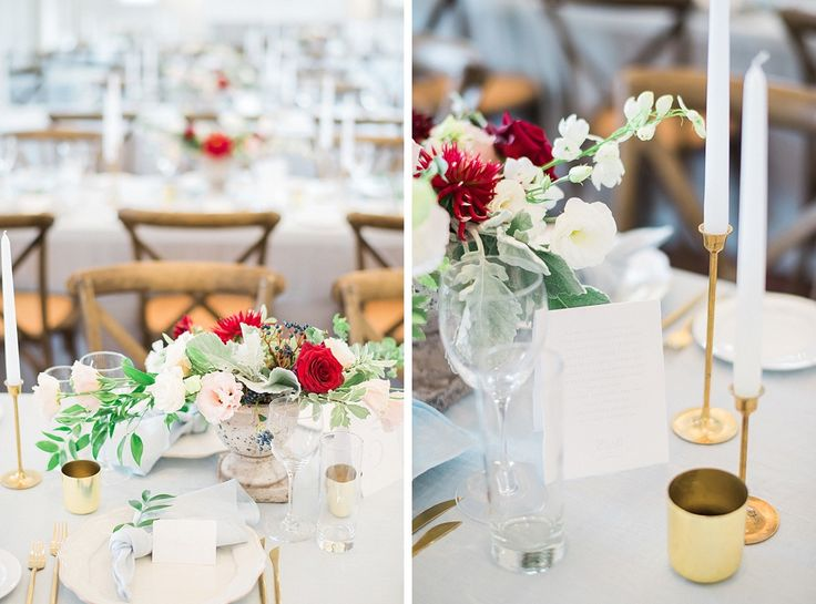 pale blue tablecloths and napkins, vintage brass taper candlesticks and brass tealight holders.... hire from The Pretty Prop Shop, Auckland, New Zealand. www.theprettyprop... Styling by Oh! Such Style