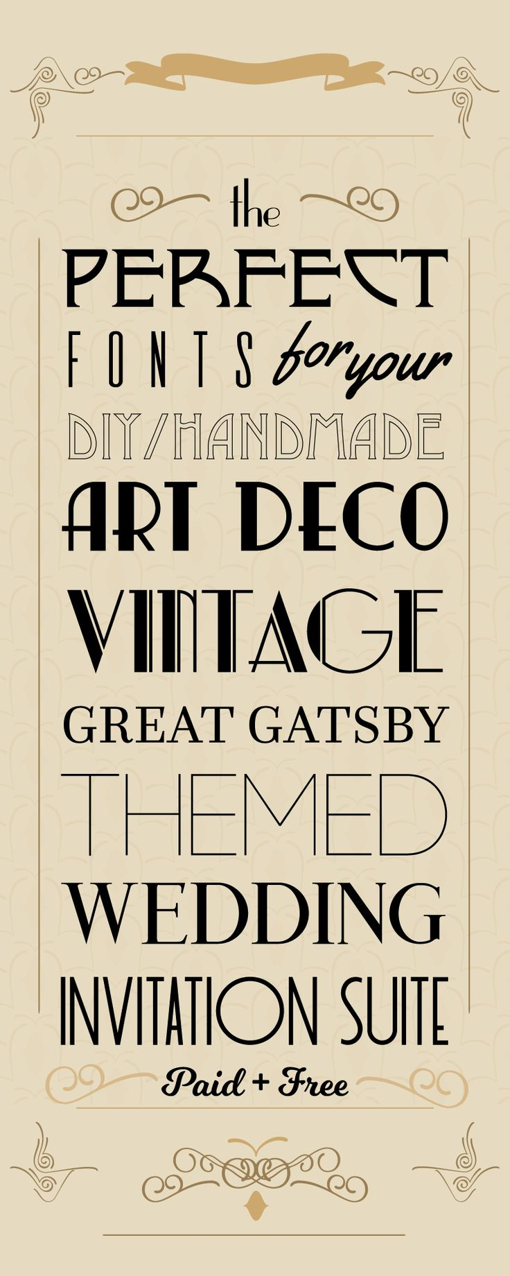 Are you looking for the perfect vintage wedding invitation fonts for your vintage, art deco, or Great Gatsby-themed wedding invitation suite? Try these!