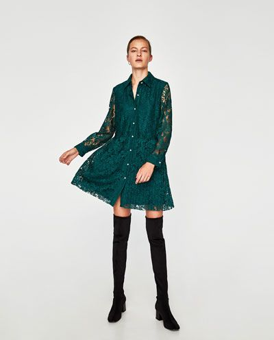 GUIPURE DRESS WITH PLEATED SKIRT