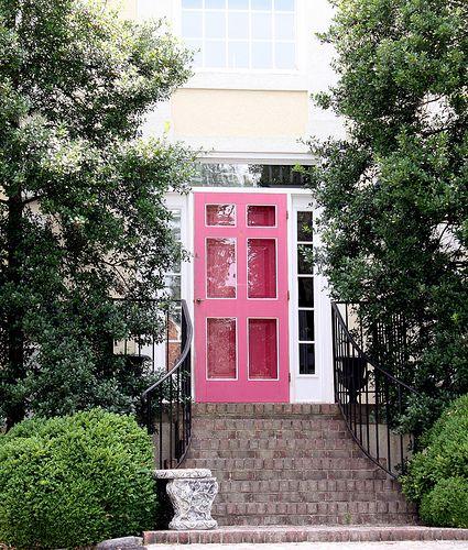 pink door brightboldbeautiful.com: Red Doors, The Doors, Doors Design, Grand Entrance, Pink Front Doors, Entrance Doors, White House, Color Doors, Pink Doors