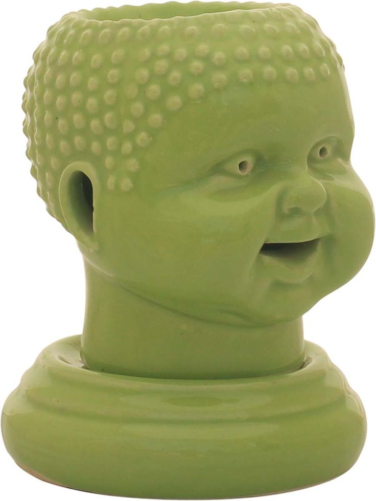 Wholesale Ceramic 5.3 Inches Scary Baby's Face Shape Essential Electric Oil Diffuser - Bulk Buy Green Aromatherapy Fragrance Vaporizer/ Wax Melt / Tart Warmer In-Build Receptacle Bowl - Fragrance & Home Decor Accessories