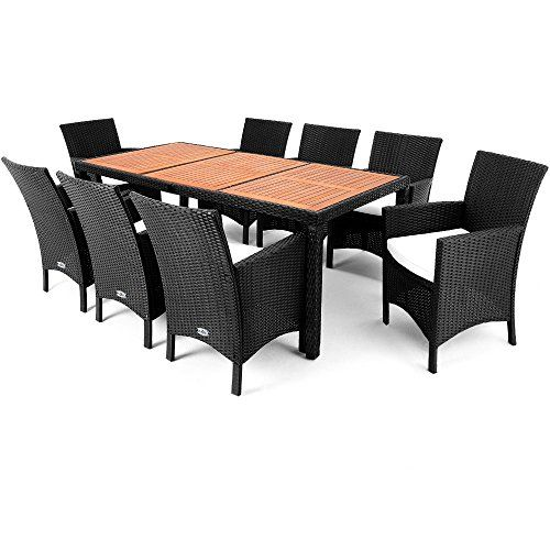 Rattan Garden Furniture Dining Table Set - 8 Seater - Acacia Wood Table  Plate 7cm Cushion