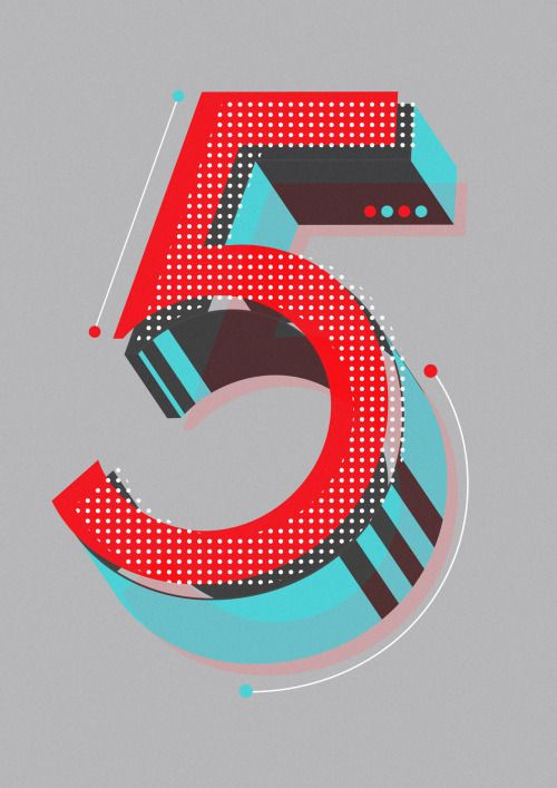 Five By Neil stevens Currently working through an alphabet of initial lettering for editorial uses and just got to the numbers which are a lot of fun to create. Thus far this '5' if my favourite.