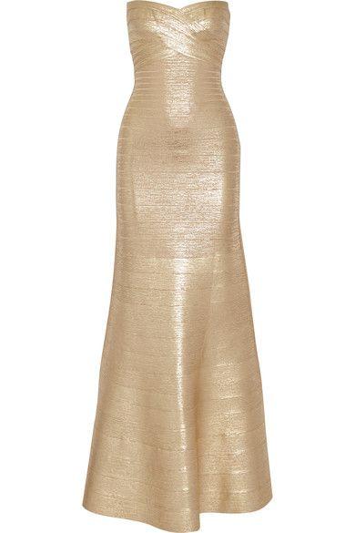 Hervé Léger   Sara trägerlose Robe aus Metallic-Bandage   NET-A-PORTER.COM