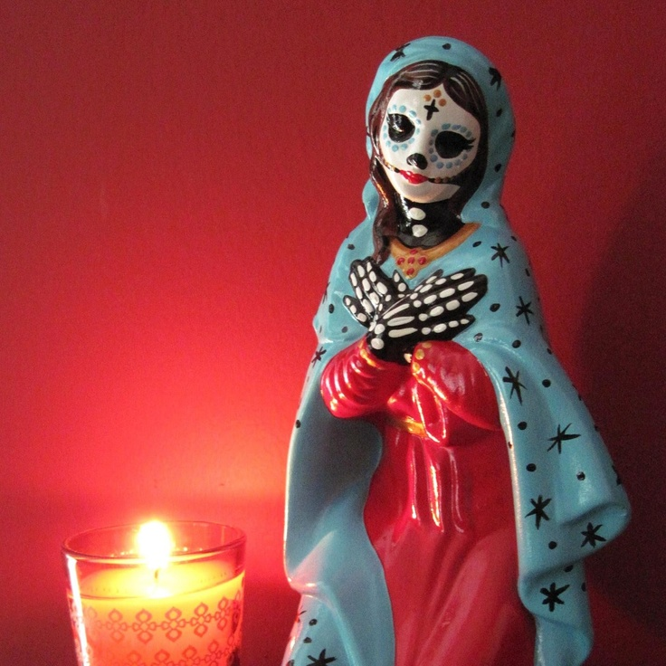 Day of the Dead VIRGIN MARY Madonna Altar Statue. via Etsy.