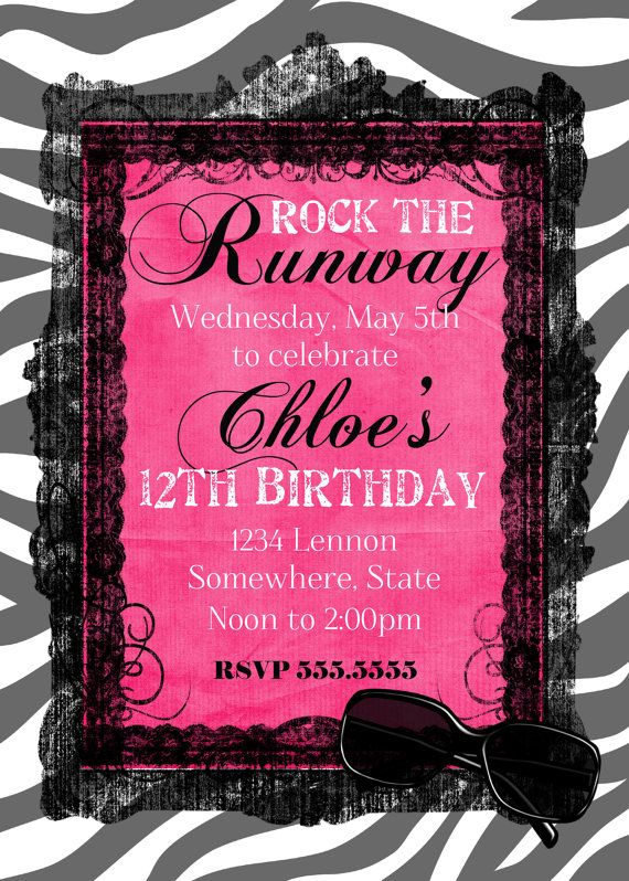 Fashion Show Birthday Party Invitation by GoldenMomentsDesign