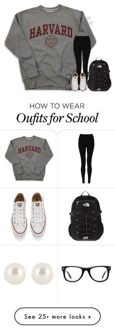 """""""school -hannah"""" by pearlwearinpreps on Polyvore featuring M&S Collection, Converse, The North Face, Muse, Henri Bendel, women's clothing, women, female, woman and misses"""