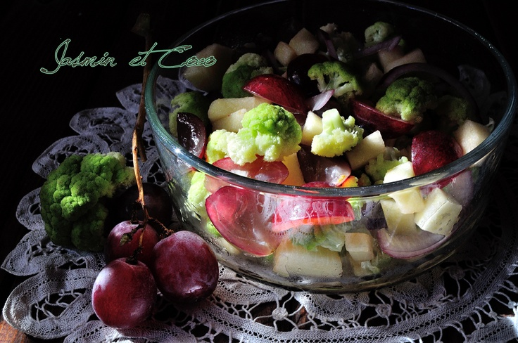 Caravaggio Fall Salad - apple, grapes, green cabbage and onion