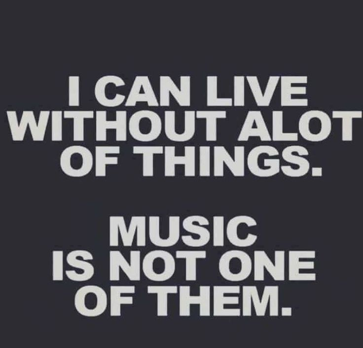 I can live without a lot of things. Music is not one of them.