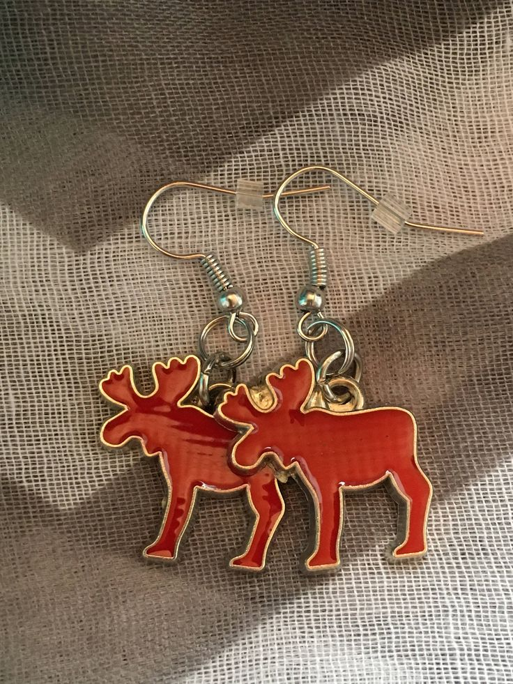 Handmade - Charm Earrings - Red Moose - Fishhook Earrings - Charm Jewelry Earrings - Newfoundland and Labrador - Salty Air Inspirations by SaltyAirInspirations on Etsy https://www.etsy.com/ca/listing/537761294/handmade-charm-earrings-red-moose