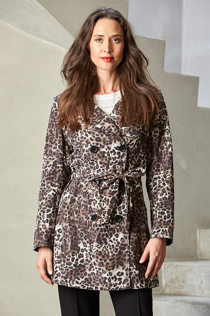 ANIMAL PRINT TRENCH  Flaunt exotic style in this fabulous leopard print coat. A printed jacket is an easy way to update your Winter wardrobe. Balance the animal print with a plain skivvy or scarf from our store, to complete the look.