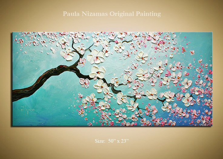 """Original Palette Knife on canvas painting Cherry Blossoms by P. Nizamas Ready to Hang 50"""""""