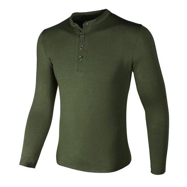 Grandad Collar Buttons Design Long Sleeve T Shirt (£17) ❤ liked on Polyvore featuring men's fashion, men's clothing, men's shirts, men's t-shirts, mens button down collar shirts, mens collared shirts, mens grandad collar shirt, mens long sleeve shirts and mens long sleeve collared shirts