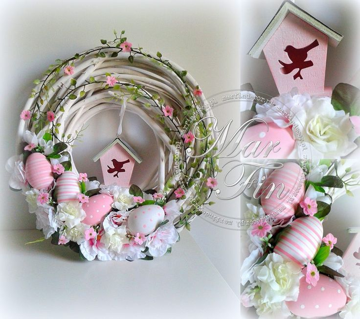 Easter Wreath - wood wreath form, pink birdhouse, eggs and flowers