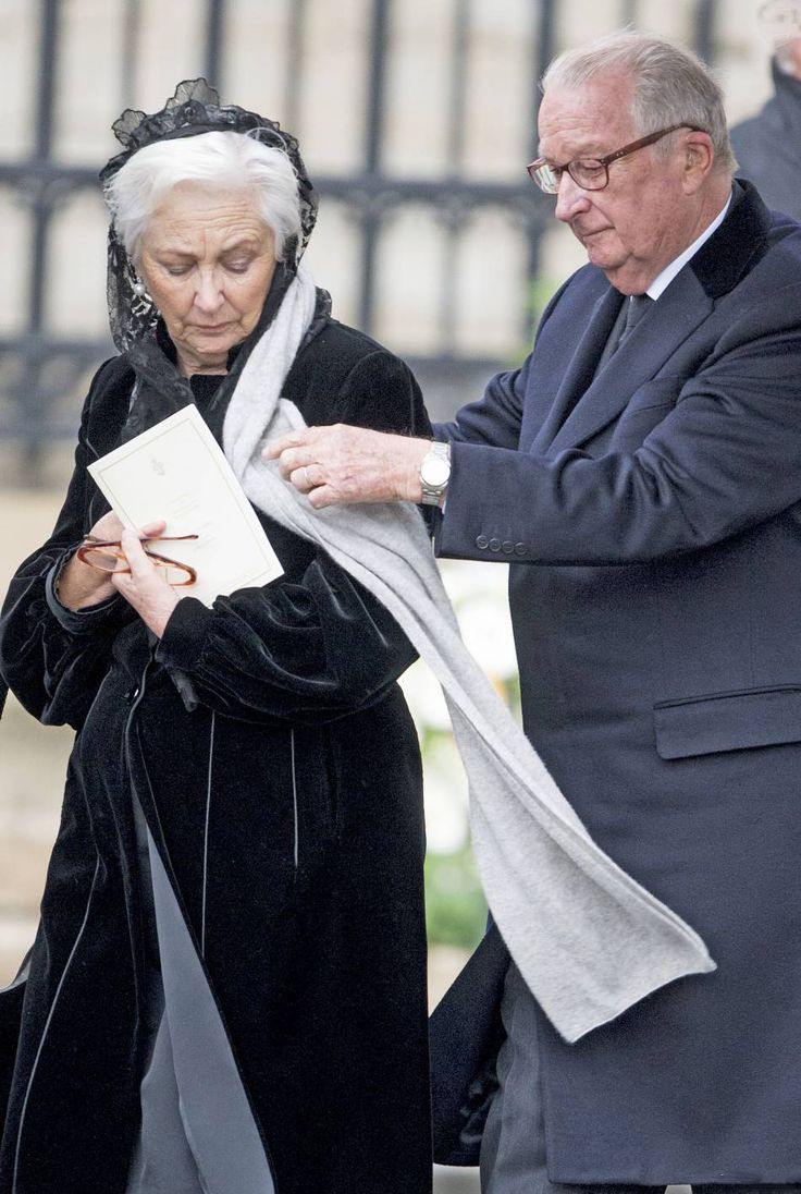 Queen Paola and King Albert of Belgium at Queen Fabiola of Belgium's funeral in the Cathedral of St. Michael in Brussels December 12, 2014