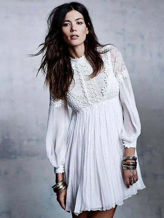 Beautiful Free People white lace detailed dress, boho, style, womens fashion
