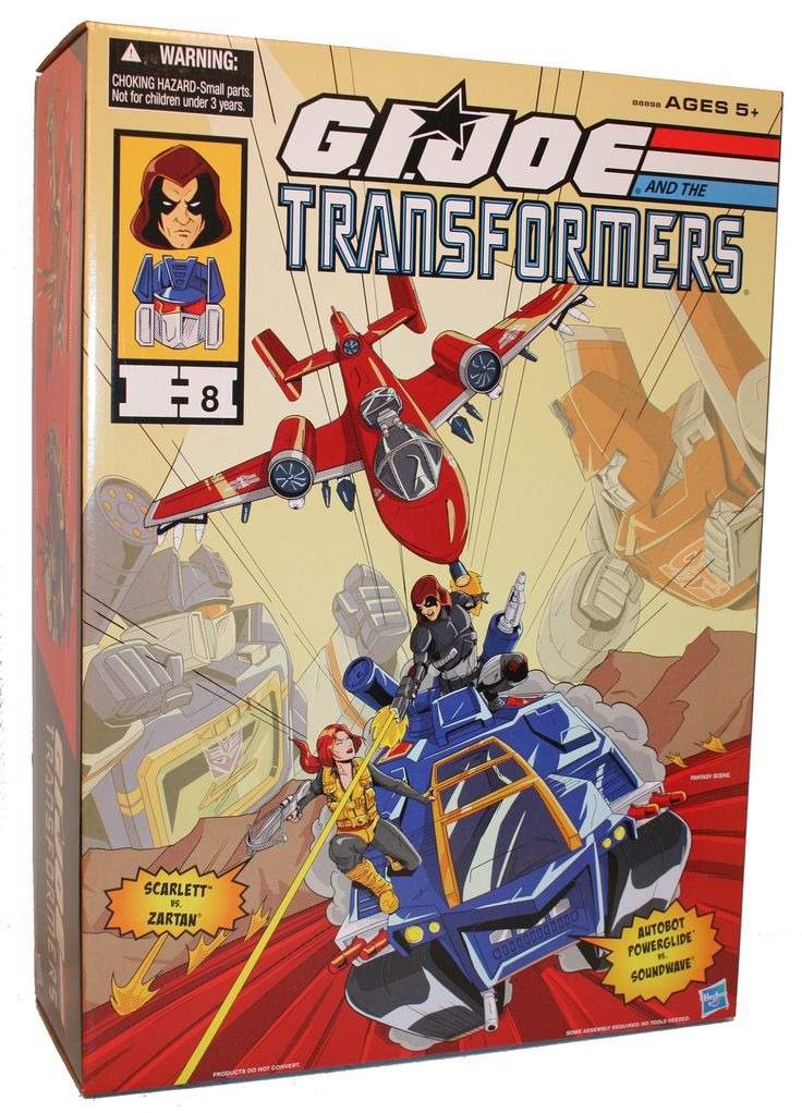 G.I. Joe and the Transformers Set ($99.99). The set features G.I. Joe characters Scarlett and Autobot Powerglide, as they fight Zatrtan and Soundwave, to re-enact the Transformers episode The Girl Who Loved Powerglide in an epic showdown.
