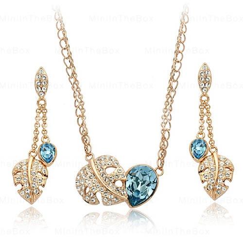 Acacia Leaves Crystal Jewelry Set