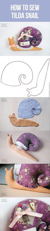 How to sew Tilda Snail toy, pattern + tutotial   Шьем улитку в стиле Тильда, мастер-класс с выкройкой