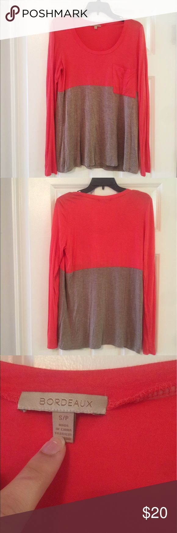 Anthropologie Bordeaux Color Block Tee, EUC In excellent condition and still looks fairly new. No fading, rips, stains or flaws. Incredibly comfortable and a great piece to wear with jeans or leggings. Relaxed fit. From Anthroplogie. Please let me know if you have any questions. Reasonable offers welcome. Bundle and save 15% on 2 or more items 💕 Anthropologie Tops Tees - Long Sleeve