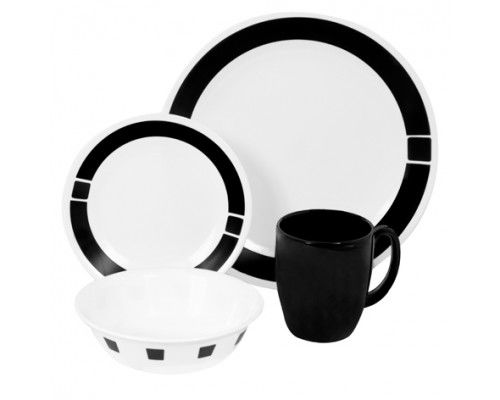 The striking contrast of bold, black bands on white dinnerware and matching solid mugs. #Corelle #LivingWare #PopatStores
