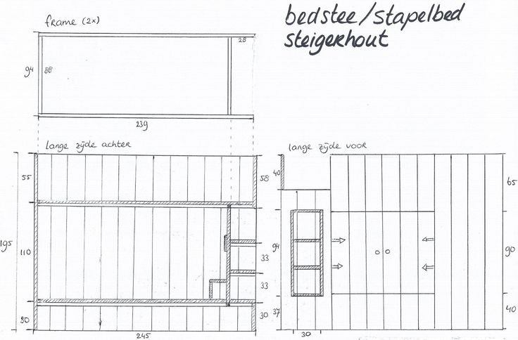 bouwtekening bedstee steigerhout | Kunjijook.nl