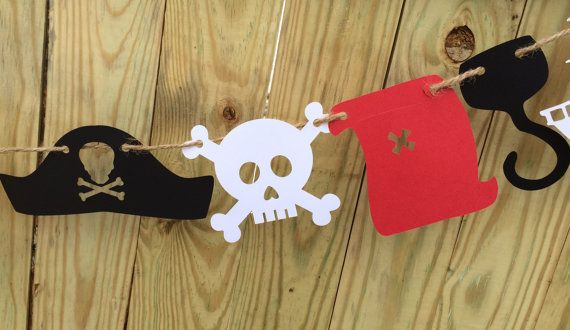 Pirate Party Banner Pirate Garland Jake and the by QuiltedCupcake