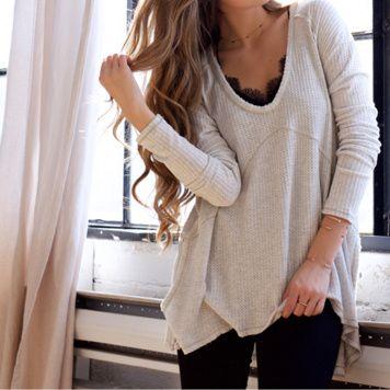 Lace under oversized long sleeve