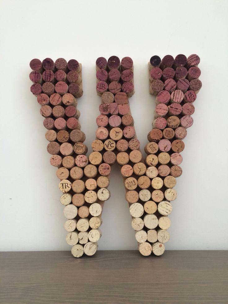 Ombre wine cork letter W