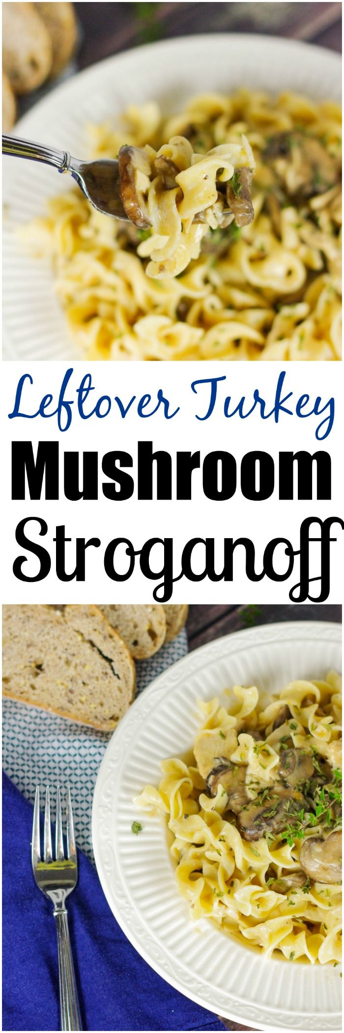 Leftover Turkey Mushroom Stroganoff | www.homeandplate.com | Make good use of leftover Thanksgiving turkey with this easy, saucy turkey mushroom stroganoff.