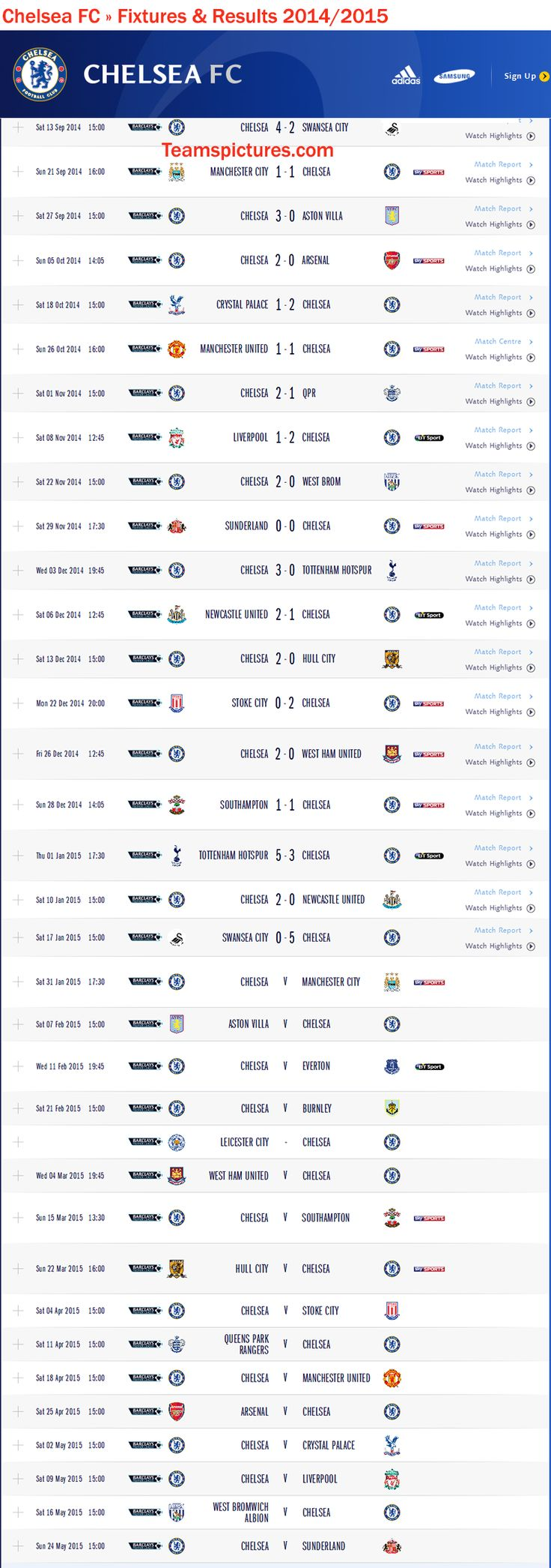 Chelsea FC Fixtures Results 2014 2015