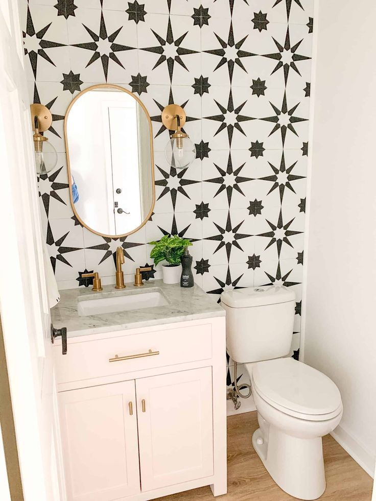 Bold Pink Powder Room In 2020 Powder Room Small Bathroom Paint
