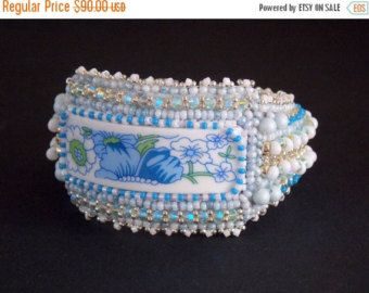 Check out Summer sale 15% Free Shipping, Bead Embroidery, Bracelet, Statement cuff, Seed bead bracelet, Blue, white, Swarovski, porcelain on vicus