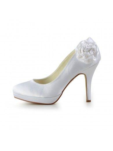 Elegant Satin Stiletto Heel Pumps with Flower Wedding/Party/Evening Shoes